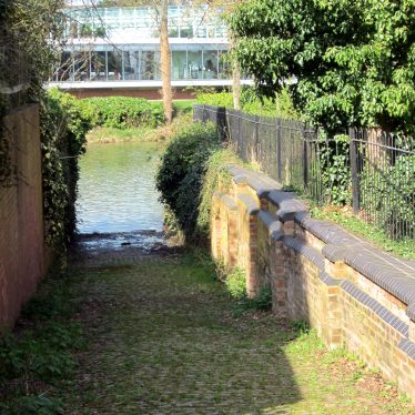 The Elephant Wash ramp down into the river (with Jephson Gardens restaurant across the river)   Anne Langley