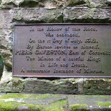 Gaveston plaque, with a harsh message! | Photo by Rob Woodgate.