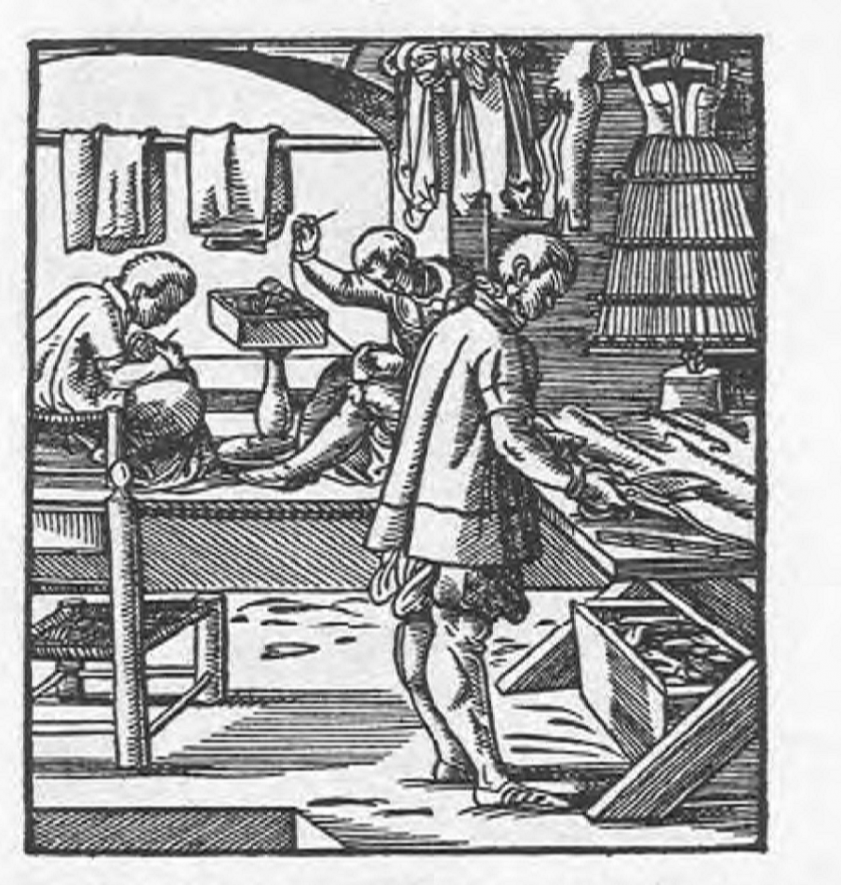 A tailor from Das Ständebuch (The Book of Trades) by Jost Amman.   Released by the British Museum on the W3C open data standard.