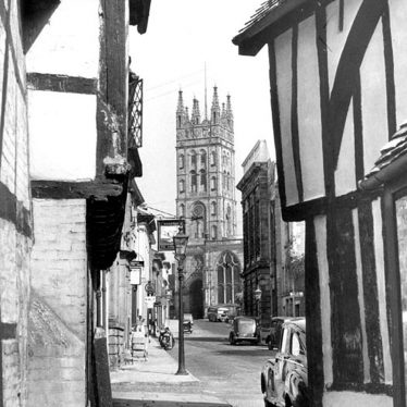 Warwick.  View of St Mary's Church and Church Street