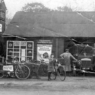 Lapworth.  Daimler car outside garage