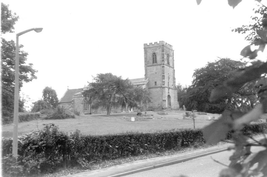 Wolvey church and churchyard from the road.  1950s |  IMAGE LOCATION: (Warwickshire Museums. Photographic Collections.)