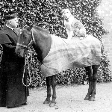 Leamington Spa.  Priest with pony and dog