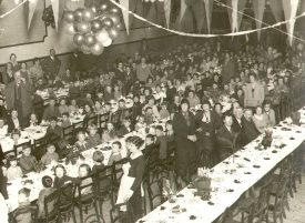 A children's' party possibly given by Frothblowers (Sam Robbins), Rugby.  1930s |  IMAGE LOCATION: (Rugby Library) PEOPLE IN PHOTO: Robbins, Sam, Robbins as surname