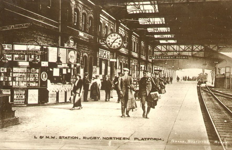 Northern Platform of Rugby railway station.  1917 |  IMAGE LOCATION: (Rugby Library)