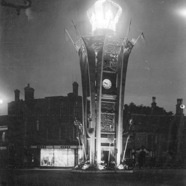 Rugby.  Clock Tower at night