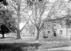 Cottages and trees on The Green, Bilton.  1920s |  IMAGE LOCATION: (Warwickshire County Record Office)