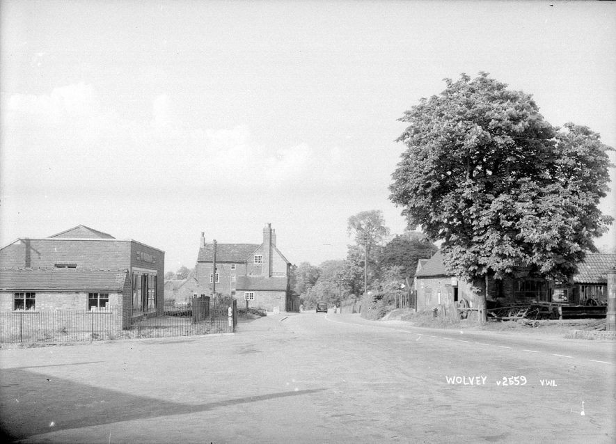 The Co-Operative stores and cottages in Wolvey.  1950s |  IMAGE LOCATION: (Warwickshire County Record Office)