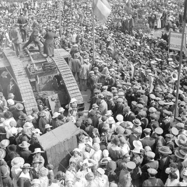 Alcester.  A crowd of people with a British Tank