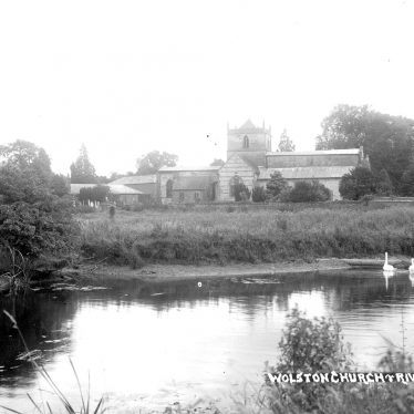 Wolston.  Parish Church and River Avon.