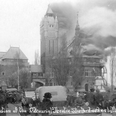 Stratford upon Avon.  Memorial Theatre fire