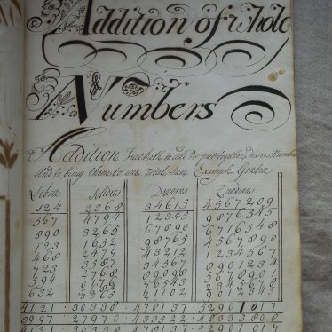 The 'Addition of Whole Numbers', a page of arithmetic with decorative script. | Warwickshire County Record Office reference CR2539