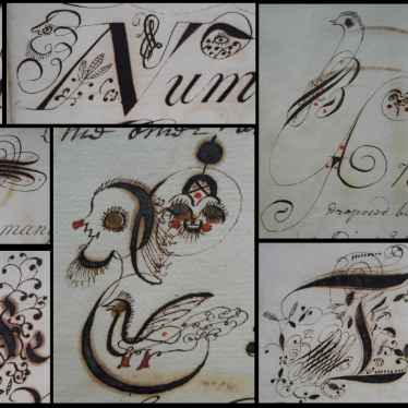Examples of some of the decorative capital letters used by Richard Lynes. Note the various styles, faces and flora. | Warwickshire County Record Office reference CR2539