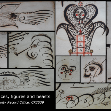 Some of the fantastical beasts and curious faces that can be found in Richard Lynes' book. | Warwickshire County Record Office reference CR2539