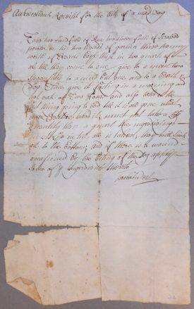 Receipt [recipe] for the bite of a mad dog, 18th century | Warwickshire County Record Office reference CR 2981/6/3/47
