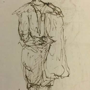 A sketch probably of Henry Richard Greville, 3rd Earl of Warwick, in 'Van Dyck' dress - presumably for a ball. | Warwickshire County Record Office reference CR1886/Box 624.