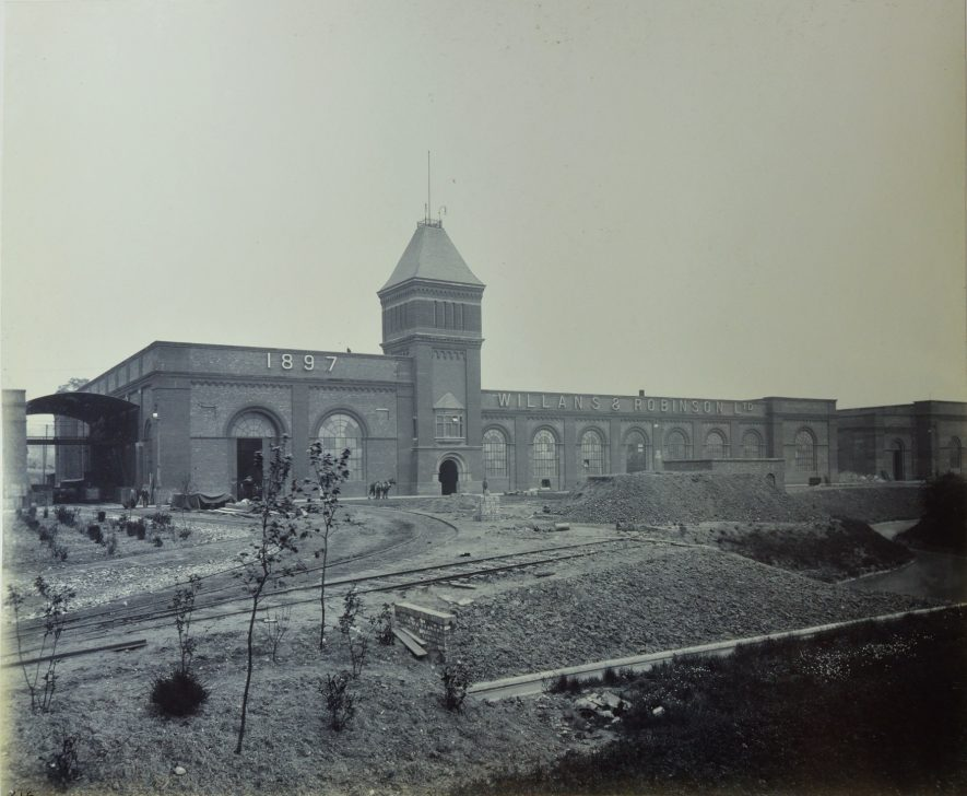 The newly built Willans & Robinson works at Rugby 1897. | Warwickshire County Record Office reference CR 4031, photo album No. 3. Used with kind permission of Alstom Ltd.