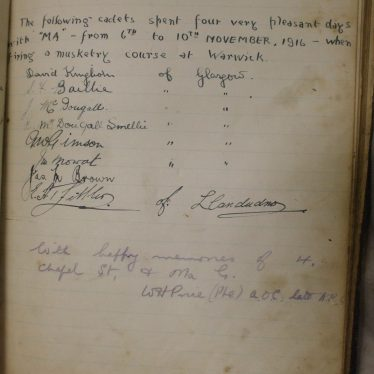 Visitors' book for Mrs. Gardner's Guest House, 4 Chapel Street. | Warwickshire County Record Office reference CR4083