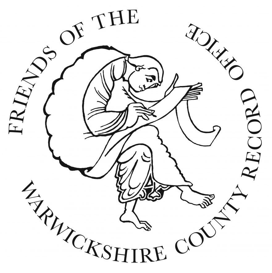 The Friends of the Warwickshire County Record Office logo, featuring a man in a toga seated writing with quill and parchment | Friends of the Warwickshire County Record Office