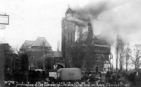 Fire at Memorial Theatre, Stratford upon Avon. 1926. | Warwickshire County Record Office reference PH352/172/125. Photo by Antona.