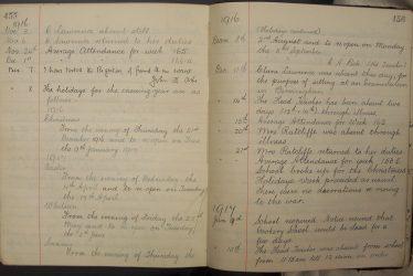A School Log Book From the First World War