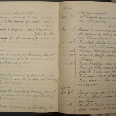 A School Log Book From the First World War