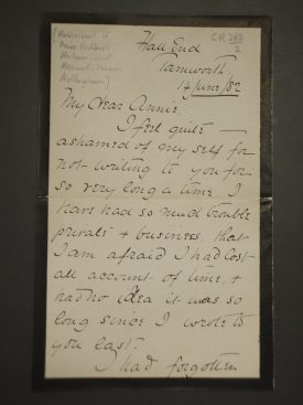Frederick Marsh letter | Warwickshire County Record Office reference CR263
