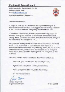 The Mayor's Letter. | Image supplied by Susan Tall