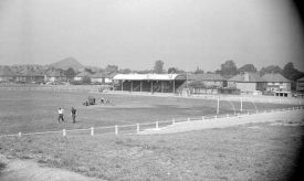 Nuneaton Borough Football Club's ground at Manor Park. 1963. The club moved from Manor Park to a new stadium, Liberty Way, in 2007. Nuneaton Rugby Club also play at the new ground. | Warwickshire County Record Office reference PH(N)882/1272