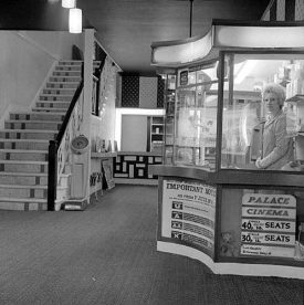 View of the foyer at the Palace Cinema, Nuneaton. May 27th 1971. | Warwickshire County Record Office reference PH(N)882/3828