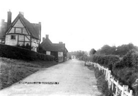 Brookside, showing thatched and timbered cottage, 1930s. | Warwickshire County Record Office reference PH226/274.