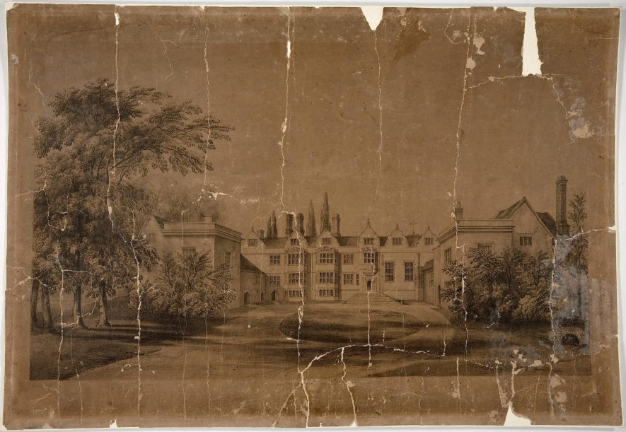 Lithograph of the front view of the Priory, Warwick, 19th Century.   Warwickshire County Record Office reference CR 26/5/2/3.