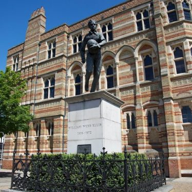 Rugby School and the Webb Ellis statue. | Picture courtesy of Heritage & Culture Warwickshire
