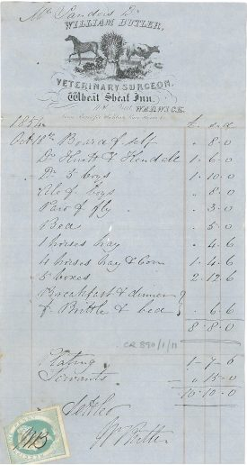 William Butler, Veterinary Surgeon | Warwickshire County Record Office reference CR 890/1/11