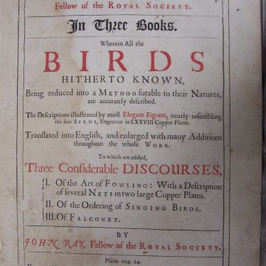 Title Page to Willughby's 'Ornithology', 1678 edition. | Warwickshire County Record Office reference D.598.2.Wil(L)