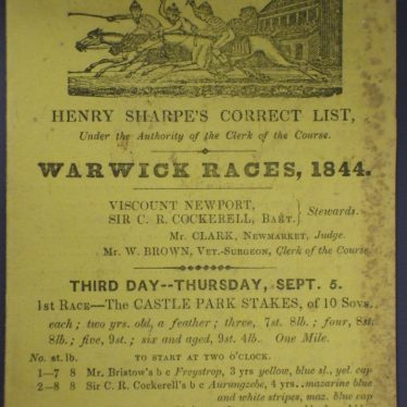 Front of race card for Warwick Races, 1844. | Warwickshire County Record Office reference CR 3444