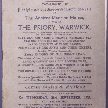 Front page of the second demolition sale catalogue of the Priory, Warwick. | Warwickshire County Record Office reference CR 1308/3