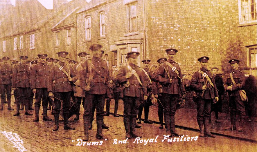 2nd Royal Fusiliers in Stockingford. | Photograph from the Nuneaton Local History Group Collection.