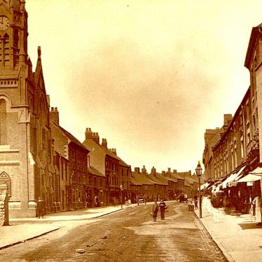 Nuneaton Abbey Street c. 1896. Stratford Street on the left. | Photograph courtesy of Clare Speight