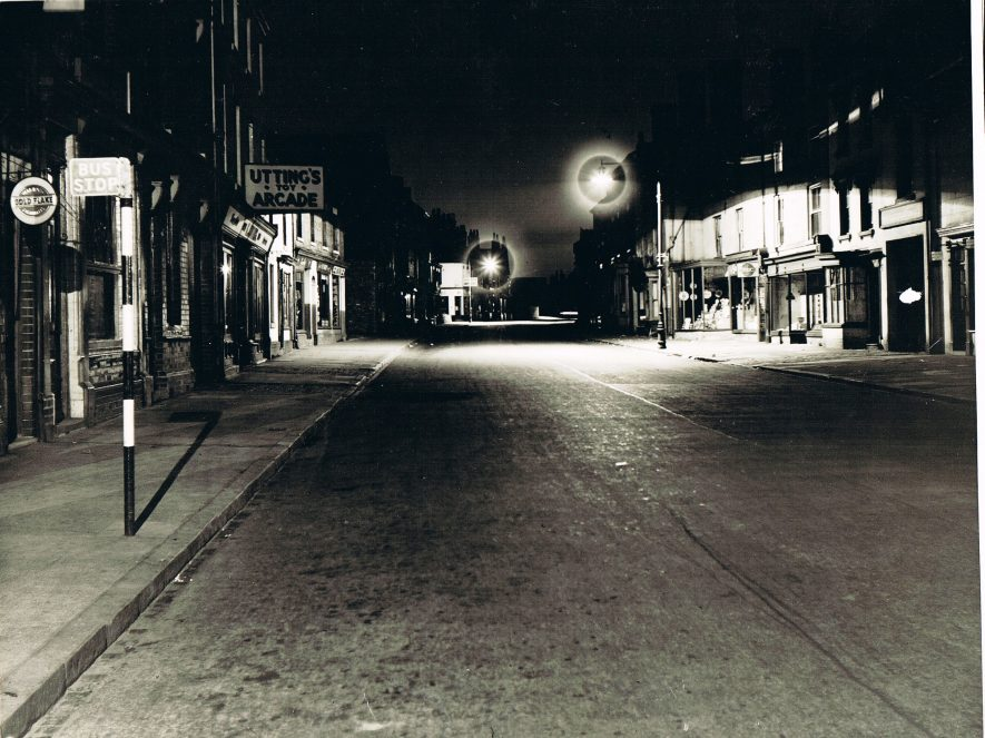 An atmospheric image of the old part of Abbey Street which was demolished in the late 1950s. | Photograph from the Nuneaton Local History Group Collection.
