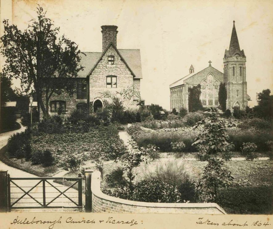 Attleborough Church and Vicarage, 1864. | Photograph courtesy of Jan Brock (New Zealand), from the Nuneaton Local History Group Collection.