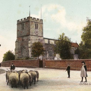 Clifton Church from a 1906 postcard. | Image courtesy of the Clifton Upon Dunsmore Local History Group