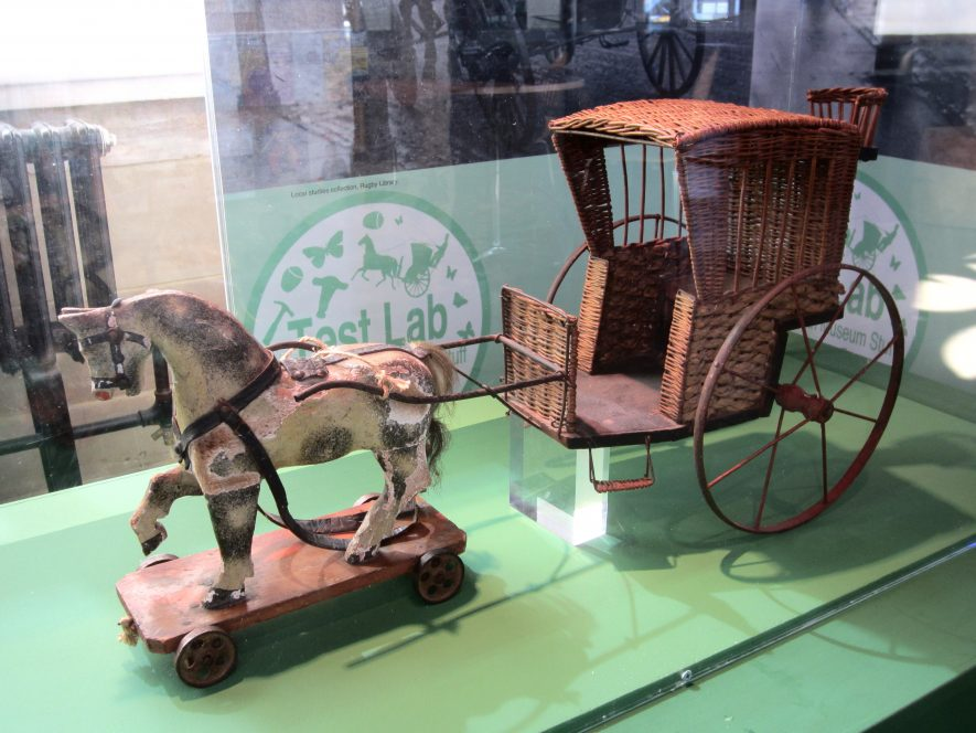Hansom cab toy with horse on display at the Market Hall Museum, Warwick in 2014 | Anne Langley