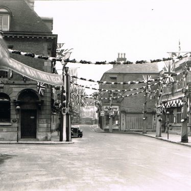 Nuneaton Market Place decorated for the Coronation in 1937