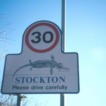 Stockton road sign displaying locally collected ichthyosaur | Jon Radley