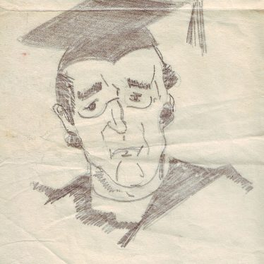 Teacher with a mortar board and glasses | Nuneaton Memories