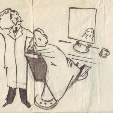 Bald man at the barbers | Nuneaton memories