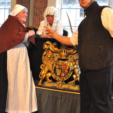 Jane Brannan, workhouse absconder, Magistrate Charles Redfern Esq and Constable John Bumford in our Court House drama. | Image courtesy of Fran Godwin