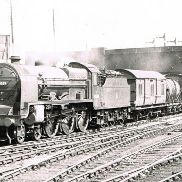 Nuneaton Station. A down express hurtles under the Leicester Road Bridge through Nuneaton in the early 1950s. | Peter Lee Collection