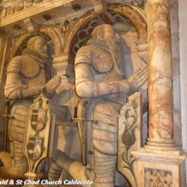 Two Knights kneeling on a marble monument within the church | Nuneaton Memories